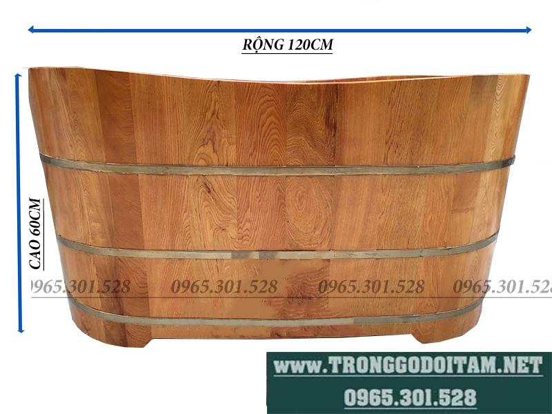 Kích thước bồn tắm gỗ pơmu dáng chuẩn