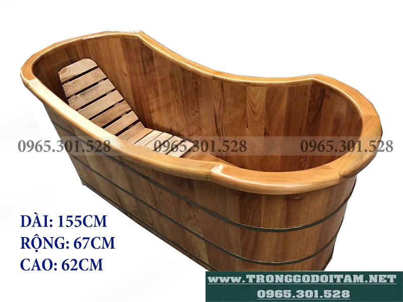 kích thước bồn tắm gỗ pơ mu bo viền