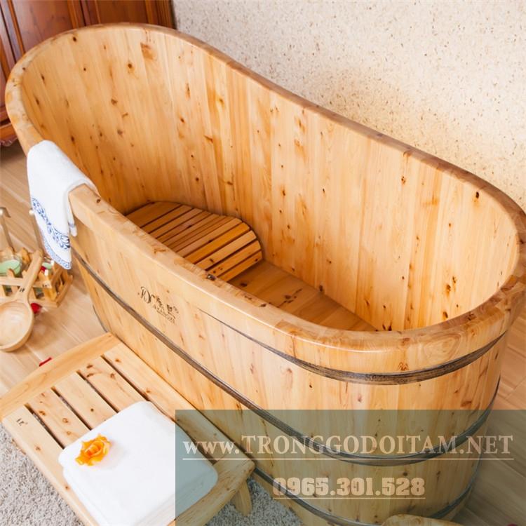 bán bồn tắm gỗ bách xanh dáng nằm