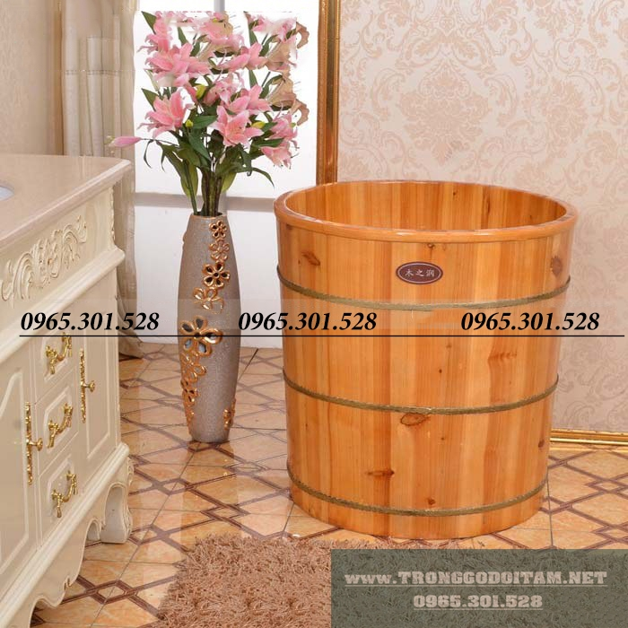 bồn tắm gỗ bách xanh dáng tròn