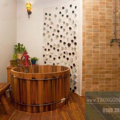 bồn tắm gỗ kiểu nhật hình tròn