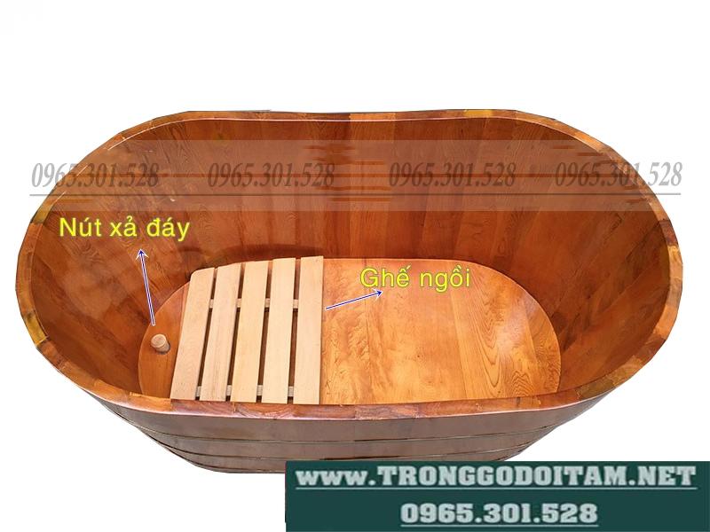 bán bồn tắm gỗ pơ mu dài110cm