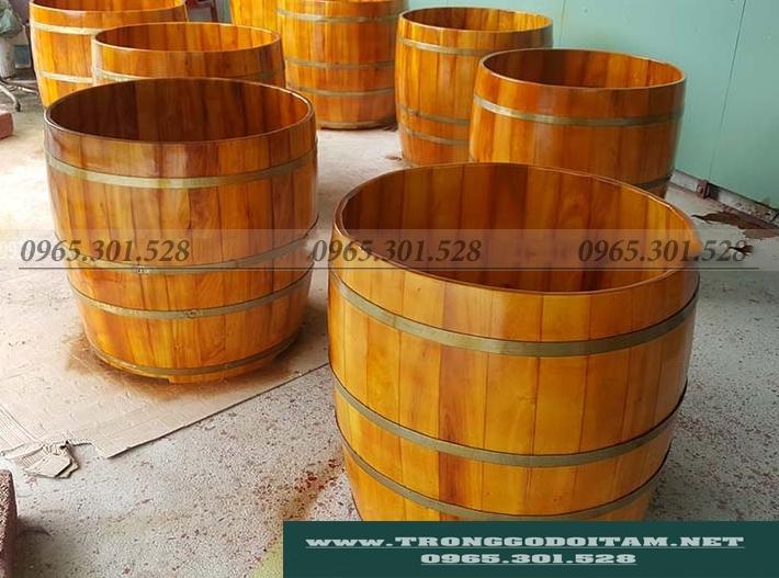 bồn tắm gỗ mít dáng tròn