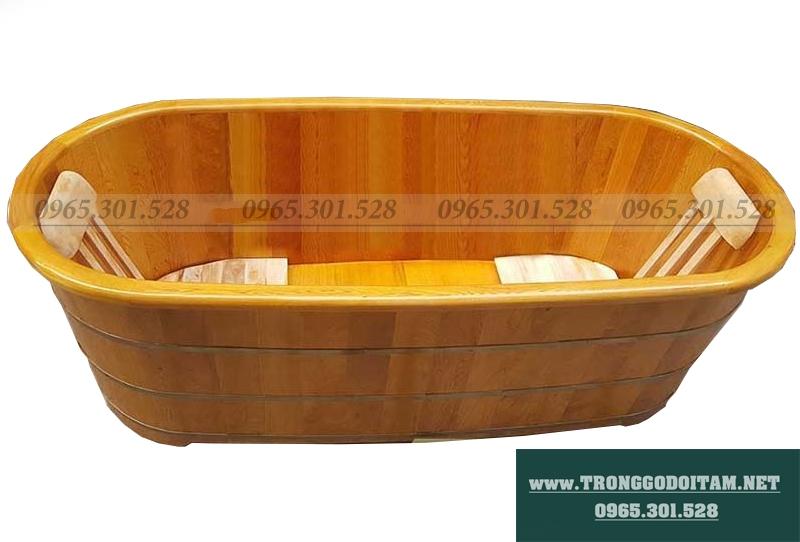 bồn tắm gỗ tròn bo viền