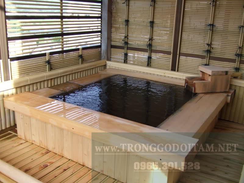 bồn tắm gỗ kiểu nhật hình vuông