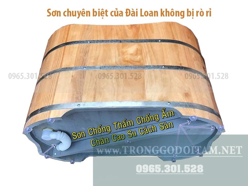 đáy bồn tắm gỗ sơn chống thấm theo phương pháp Đài Loan