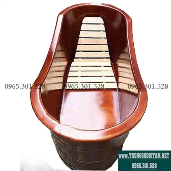 thùng tắm gỗ màu nâu giả cổ