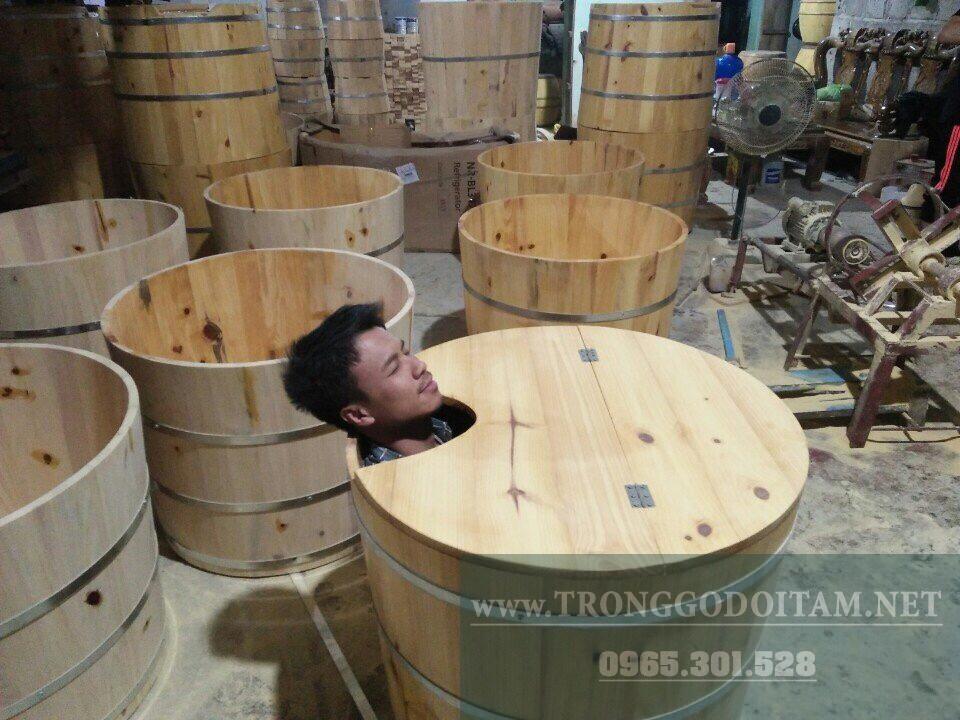 xưởng sản xuất bồn tắm gỗ dáng tròn
