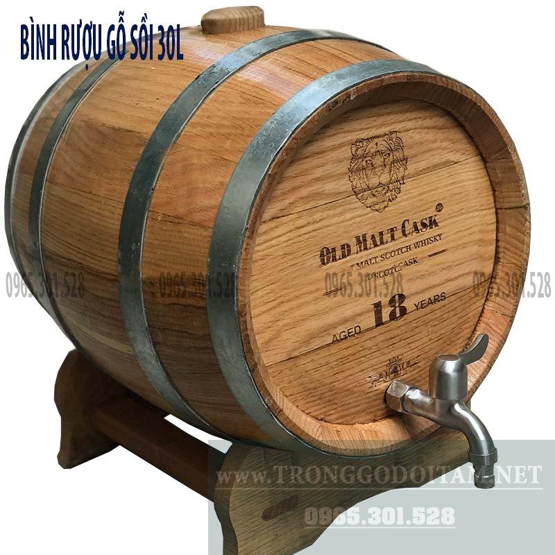 giá bán thùng gỗ sồi ngâm rượu loại 30l