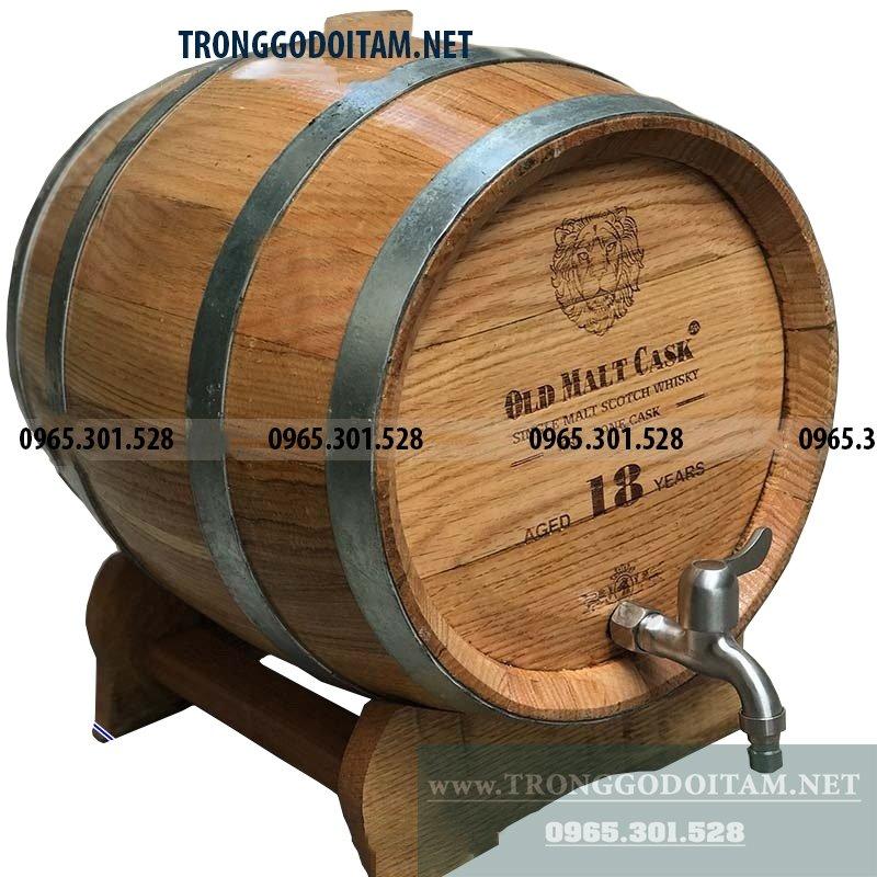 Thùng gỗ sồi ủ rượu 20 Lít giá rẻ, bán thùng đựng rượu gỗ sồi