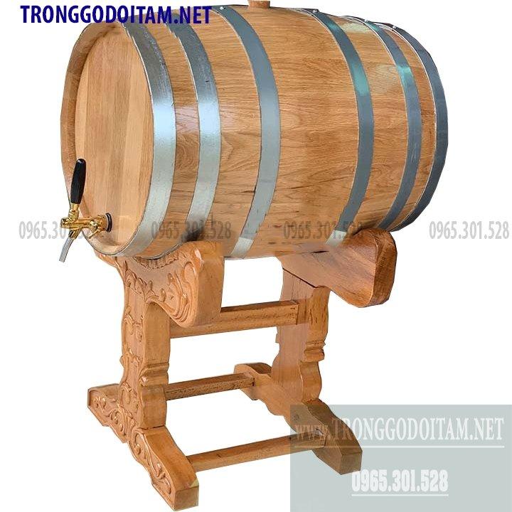 Thùng gỗ sồi đựng rượu vang mẫu kèm chân đỡ cao cấp