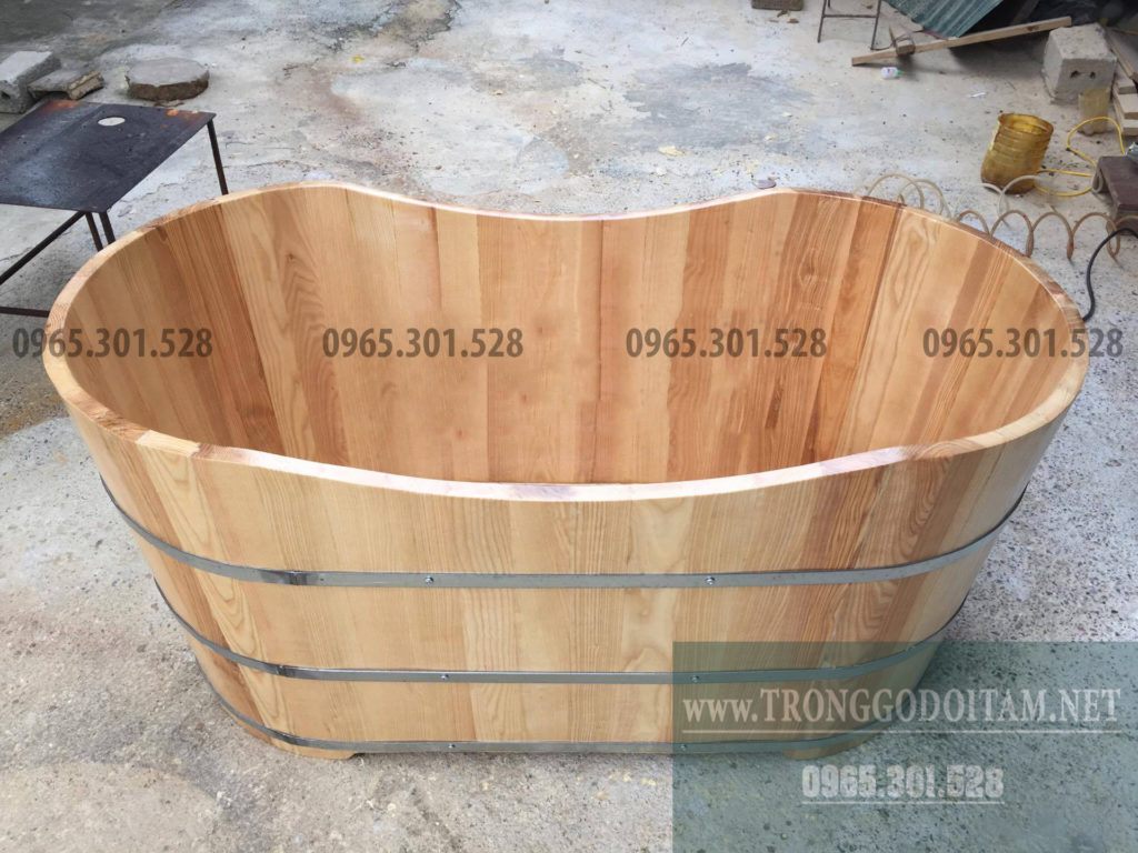 bồn tắm gỗ sồi hình thuyền, hình oval