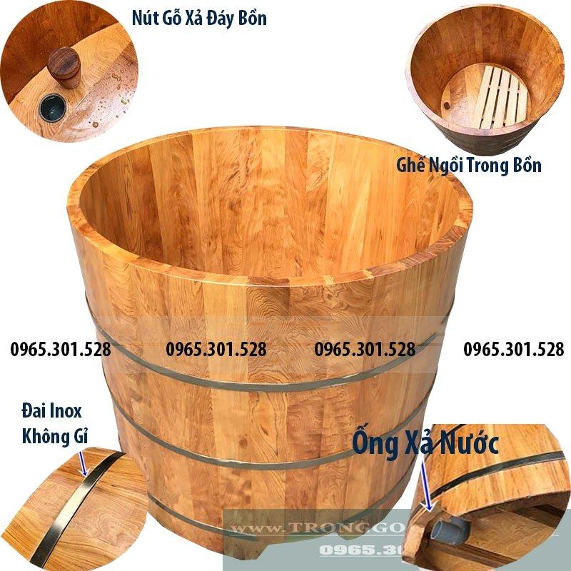 thùng tắm gỗ dáng tròn gỗ pơ mu chuyên để ngâm thuốc