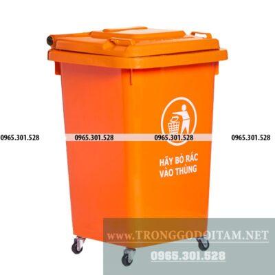 giá thùng rác nhựa 60 lít màu cam