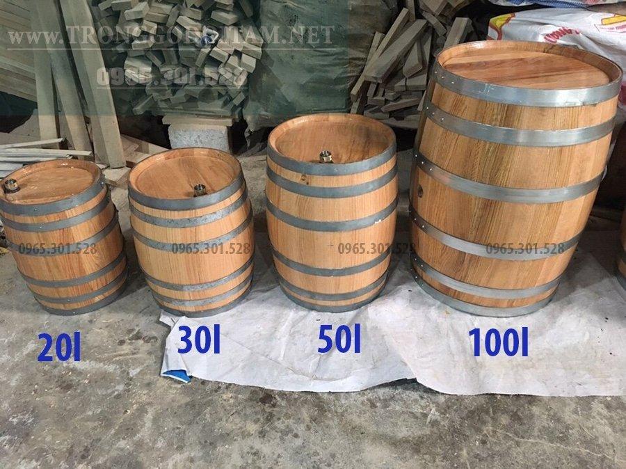 mua thùng gỗ sồi 20l 30l 50l 100l 200l 300l