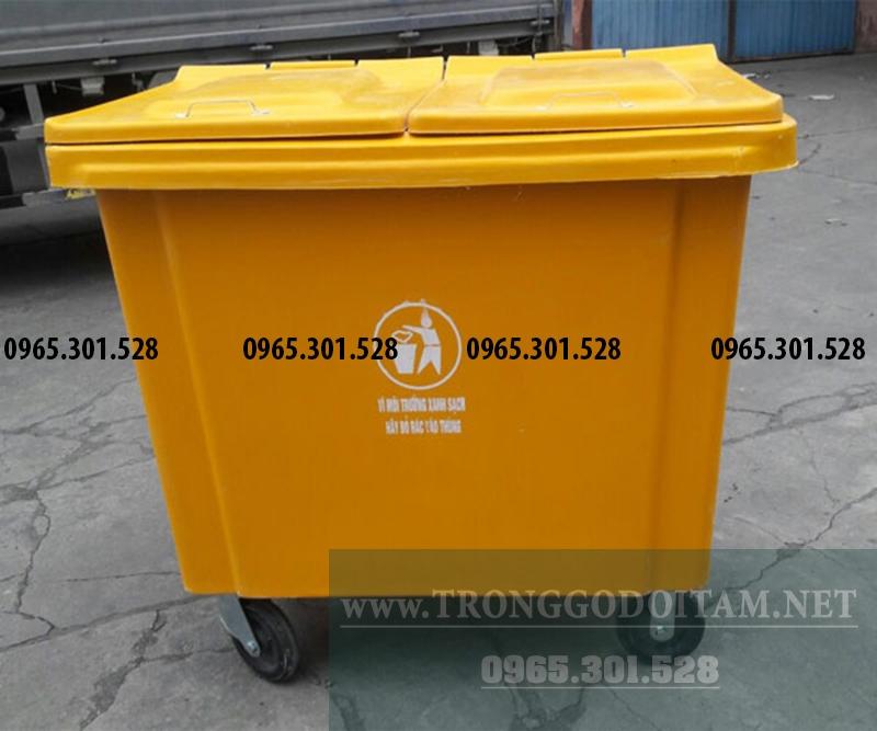 thùng rác nhựa 660l màu vàng giá rẻ