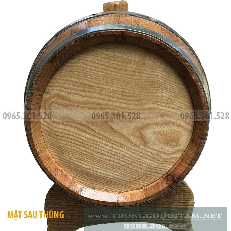 Mặt sau thùng ngâm ủ rượu gỗ sồi 20 lít kín 100%