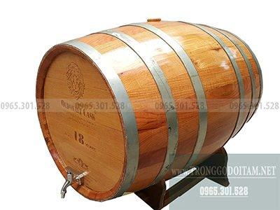 thùng gỗ sồi đỏ 200l dáng nằm
