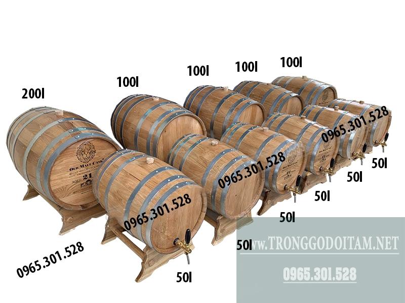 Thùng gỗ sồi đựng rượu vang được làm các dung tích: 20L - 30L - 50L - 100L - 200L - 300l tùy theo nhu cầu của khách hàng