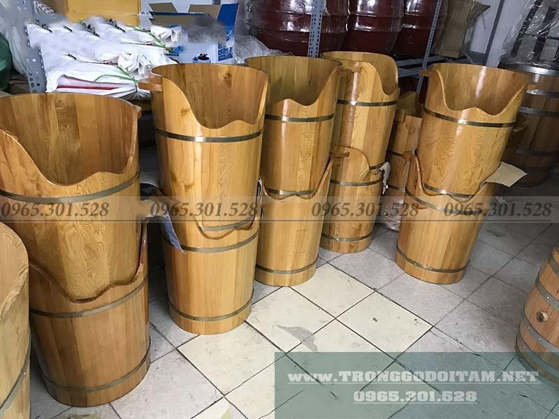 Chuyên sản xuất và bán thùng gỗ xông hơi chân, chậu ngâm chân gỗ Pơ Mu, Bồn tắm gỗ