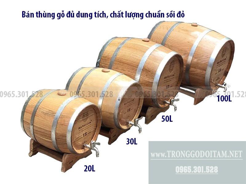 Bán thùng gỗ ngâm ủ rượu đủ dung tích, chất lượng chuẩn sồi đỏ