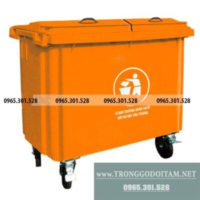 giá thùng rác nhựa 660 lít
