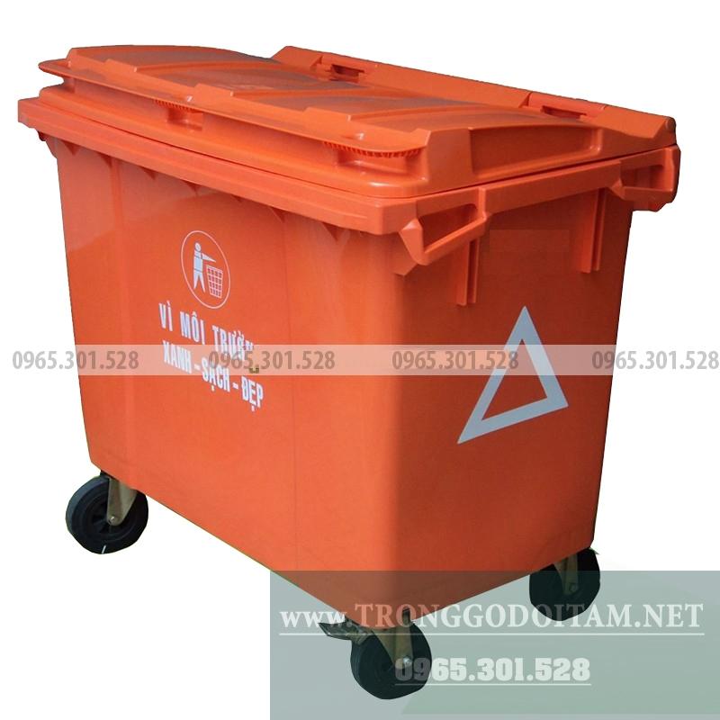 thùng rác nhựa 660l màu cam dùng cho các chất thải nguy hiểm