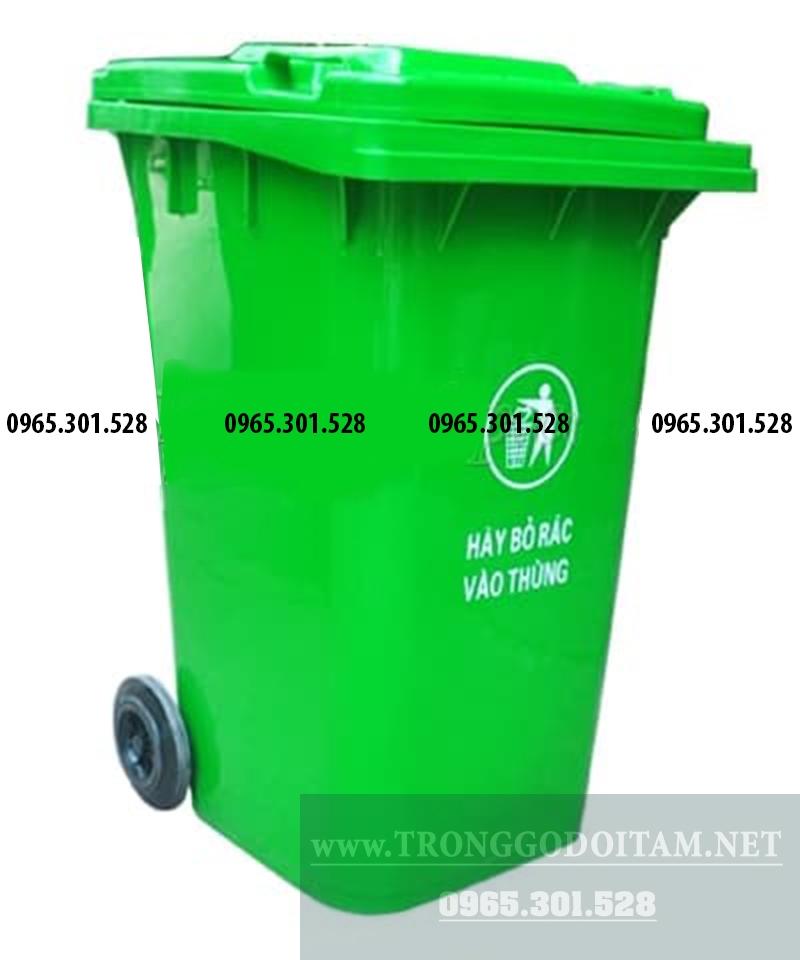 thùng rác nhựa 240 lit màu xanh lá cây