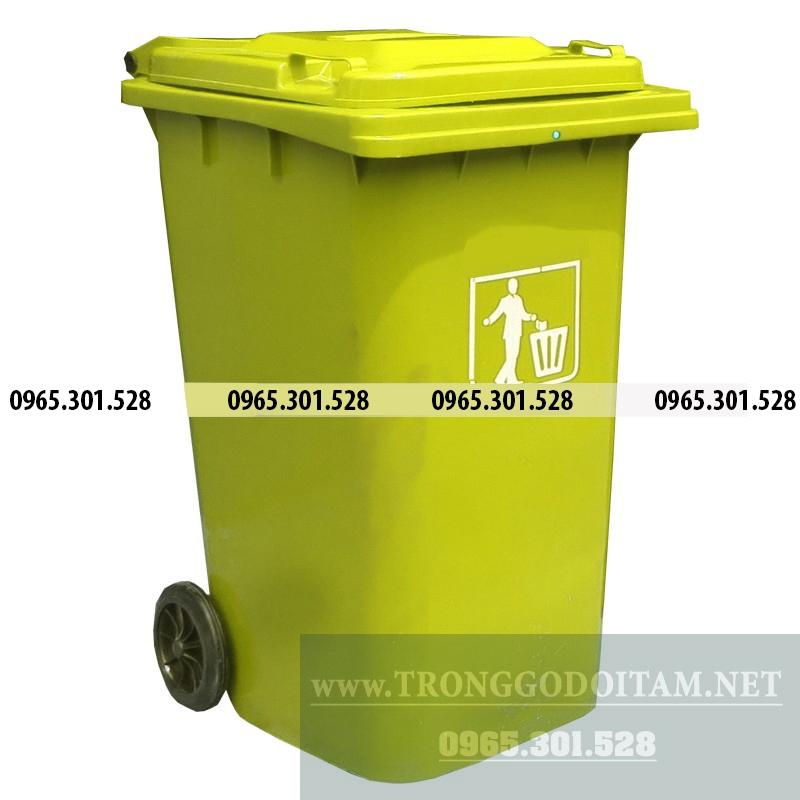 thùng rác nhựa hdpe 240 lít màu vàng