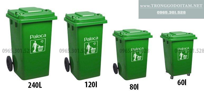kích cỡ các thùng rác nhựa