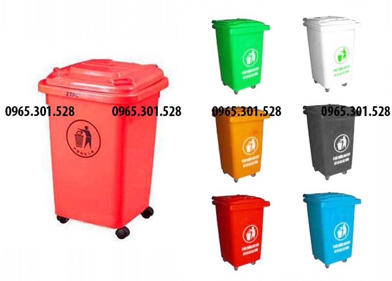 thùng rác nhựa 60 lít đủ các màu, khách hàng dễ dàng chọn lựa