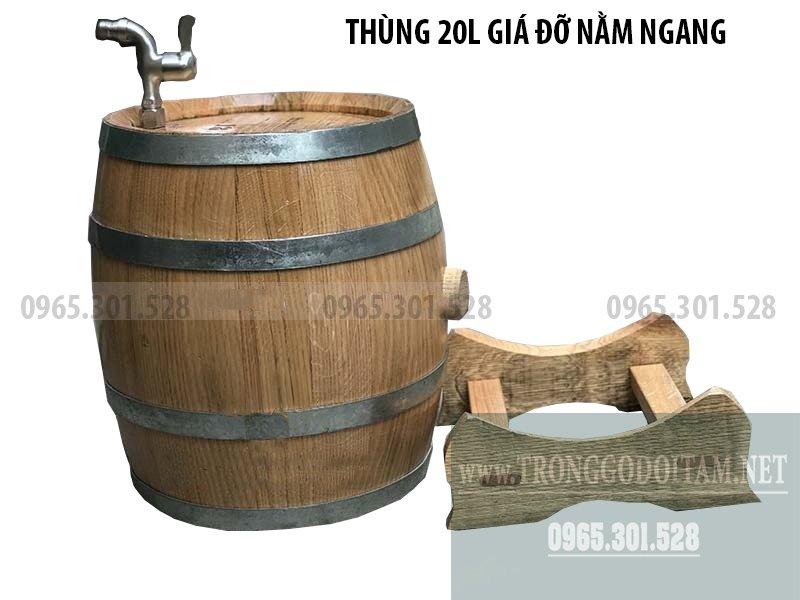 thùng gỗ sồi ủ rượu chuẩn loại 20l