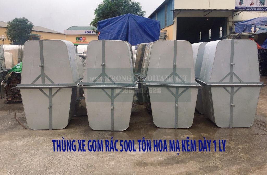 thùng xe gom rác 500l tôn dày 1ly