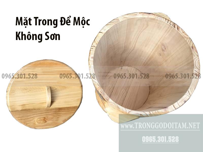 Thùng gỗ đựng gạo an toàn, mặt trong để mộc