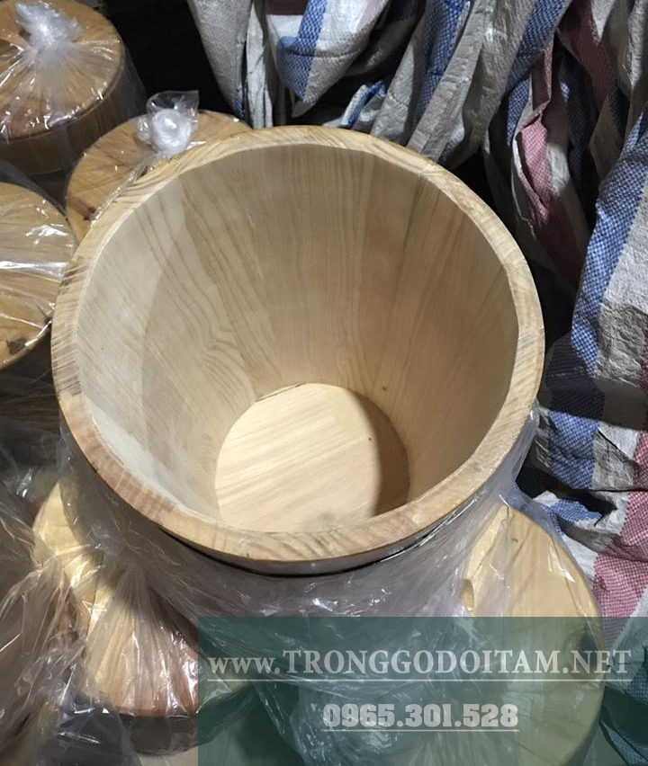 thùng gỗ đựng gạo mặt trong không sơn để mộc