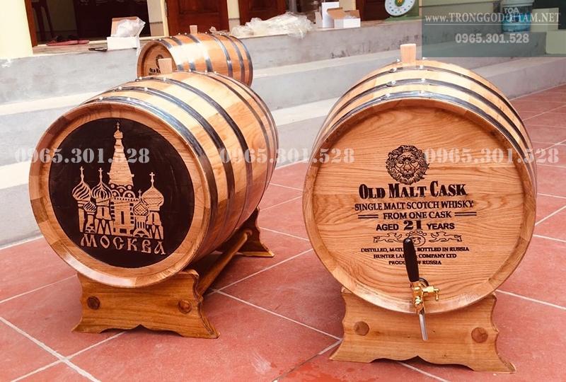 thùng đựng rượu 50l khắc mặt thùng