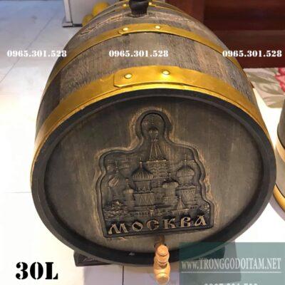 thùng rượu gỗ sồi 30l giả cổ